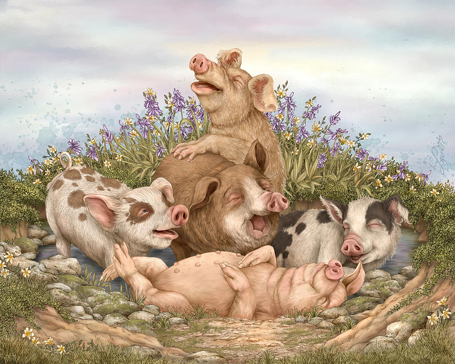Pigs Painting - Think Happy by Beverly Levi-Parker