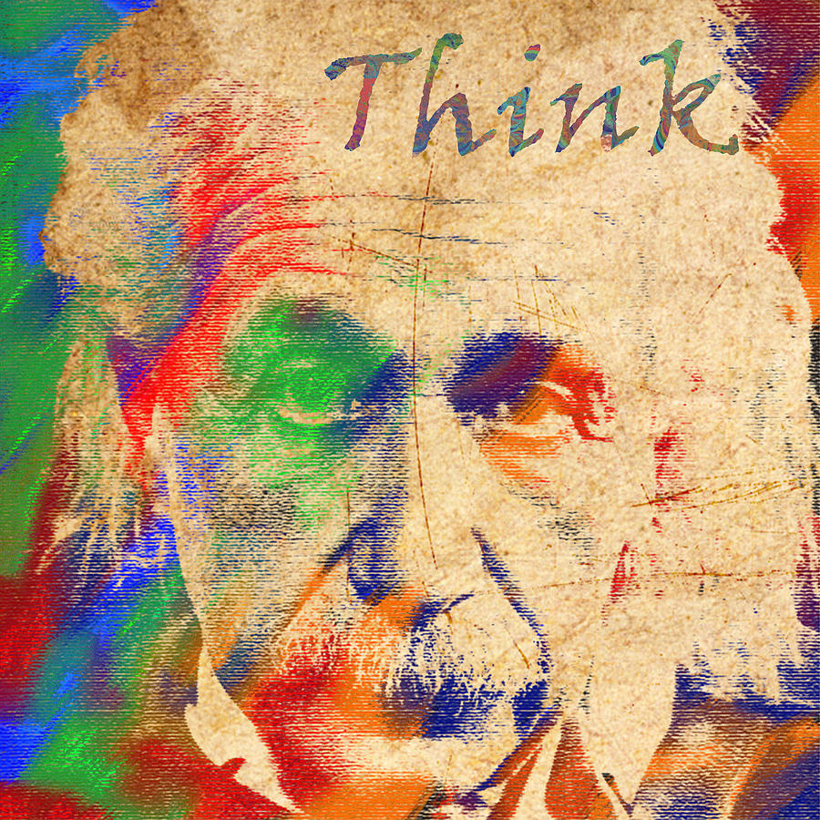 Einstein Digital Art - Think by Soumya Bouchachi