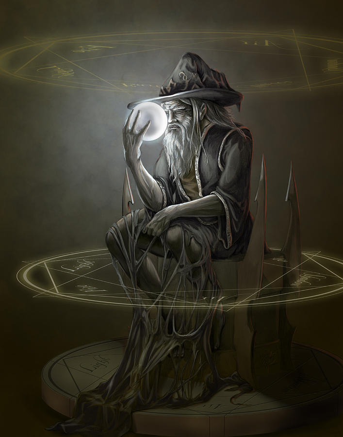 Thinker wizard painting by rob carlos for Paintings of crystals
