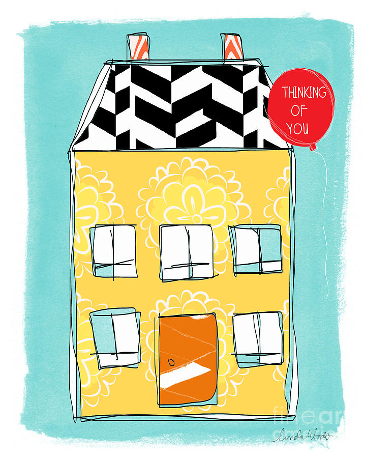 House Painting - Thinking Of You Card by Linda Woods