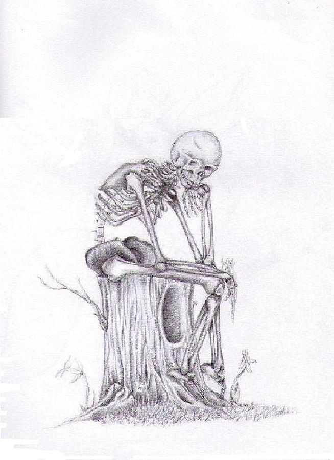Thinking Skeleton Drawing By Garrett Wright