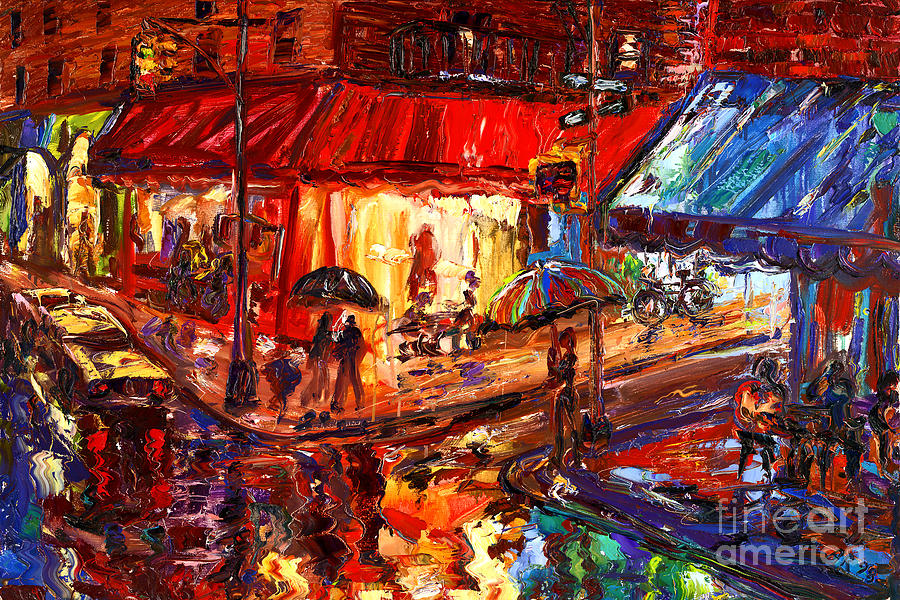 Cityscapes Painting - Third And Mcdougal In The Rain by Arthur  Robins