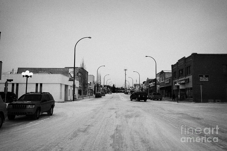 Ave Photograph - third avenue main street through Kamsack Saskatchewan Canada by Joe Fox