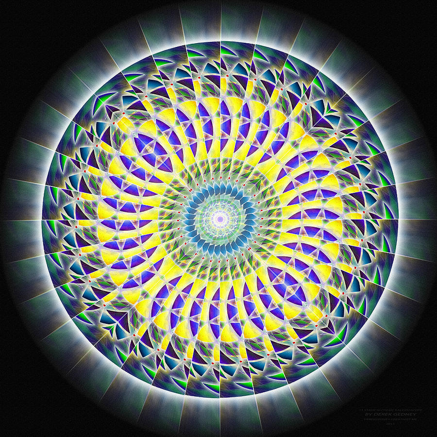 Sacredlife Mandalas Drawing - Thirteen Stage Alchemy Kaleidoscope by Derek Gedney