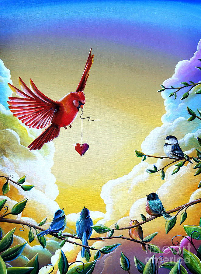 Cardinal Painting - This Heart Of Mine by Cindy Thornton