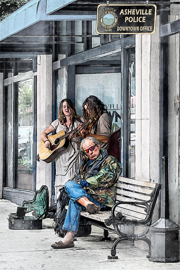 Buskers Mixed Media - This Is Asheville by John Haldane