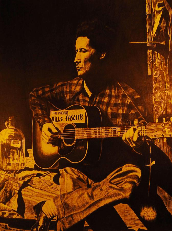 Woody Guthrie Drawing - This Machine Kills Fascists by Charles Rogers