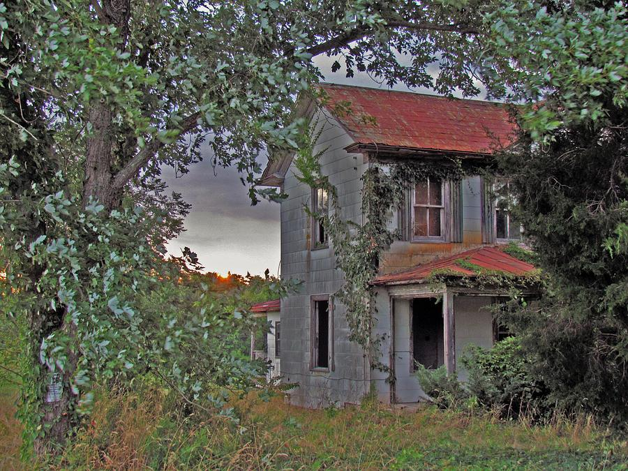 Historic Old Abandoned Rural History Farm House Country Antique Historic Overgrown Mystic Rustic Lawn Yard Field Maryland Trish Clark Sunset Sundown Evening Dusk Porch Trees Posted Keep Out Home Broken Creepy Aged Cloudy Clouded Clouds Grey Rusty Weeds Brush Skies Sky Vintage Photograph - This Old House by Trish Clark