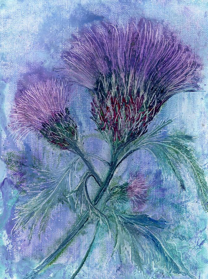Blue Painting - Thistle by Carol Rowland