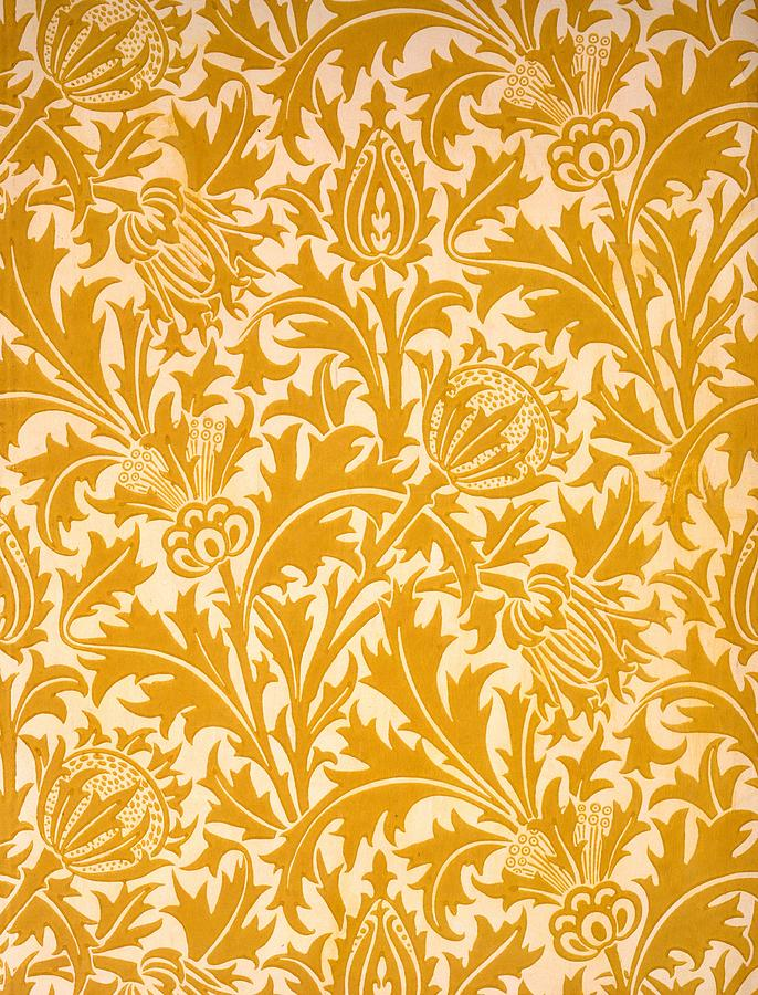 William Morris Drawing - Thistle Wallpaper Design, Late 19th by William Morris