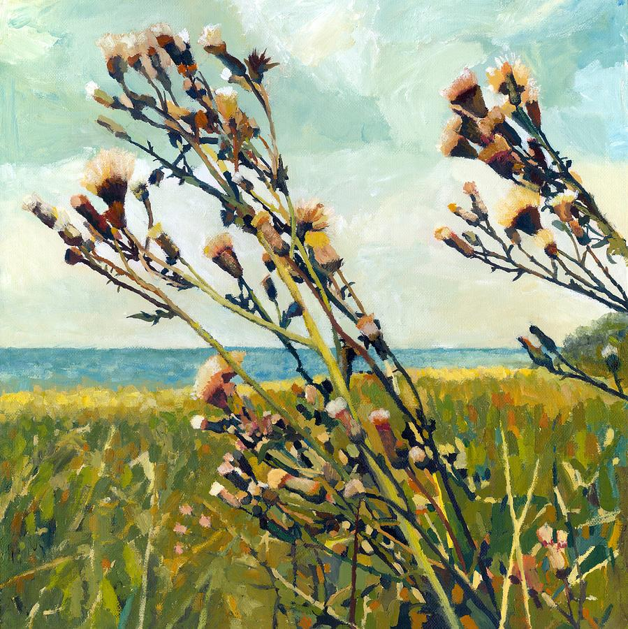 Horizon Painting - Thistles On The Beach - Oil by Michelle Calkins
