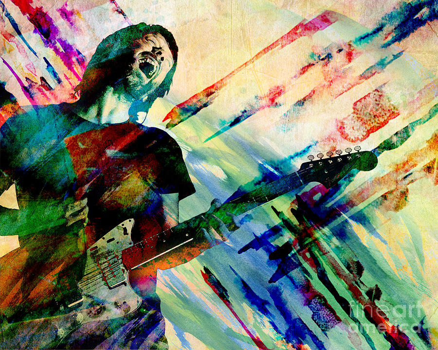 Rock N Roll Painting - Thom Yorke - Radiohead - Original Painting Print by Ryan Rock Artist