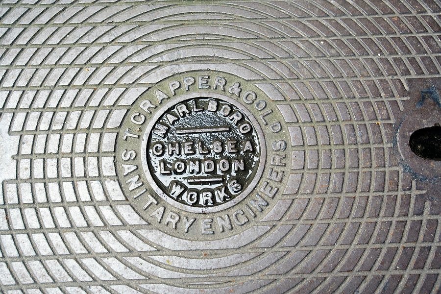 Drain Cover Photograph - Thomas Crapper Manhole Cover by Adam Hart-davis/science Photo Library