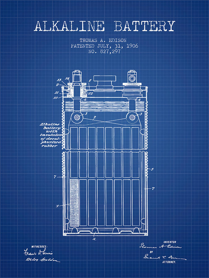 Thomas edison alkaline battery from 1906 blueprint digital art thomas edison digital art thomas edison alkaline battery from 1906 blueprint by aged pixel malvernweather Image collections