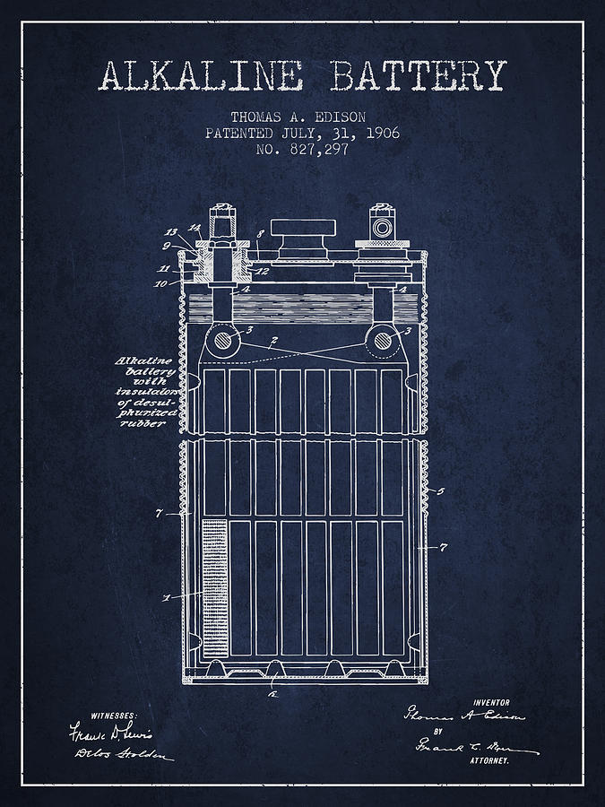 Thomas Edison Alkaline Battery From 1906 Navy Blue