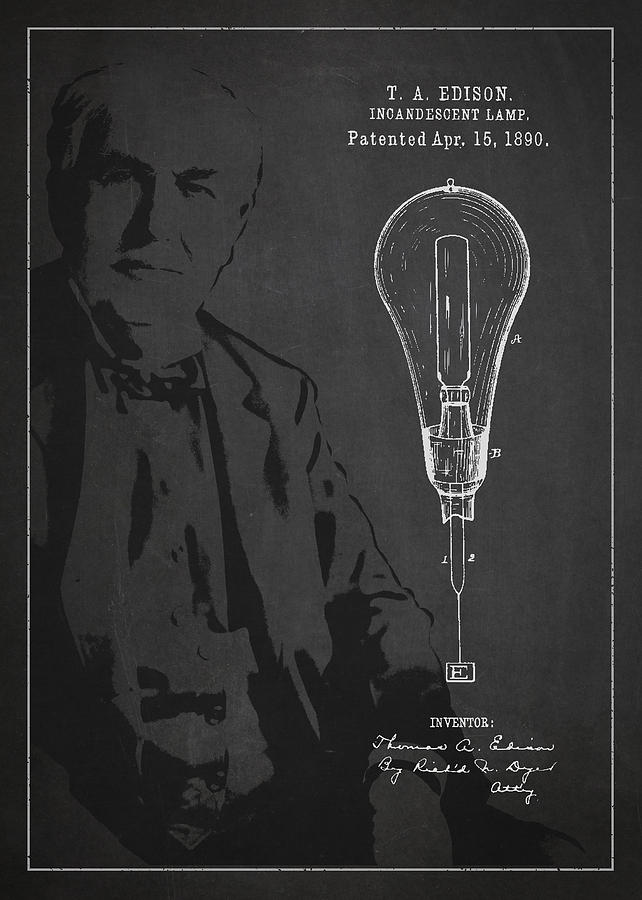 Thomas Edison Drawing - Thomas Edison Incandescent Lamp Patent Drawing From 1890 by Aged Pixel