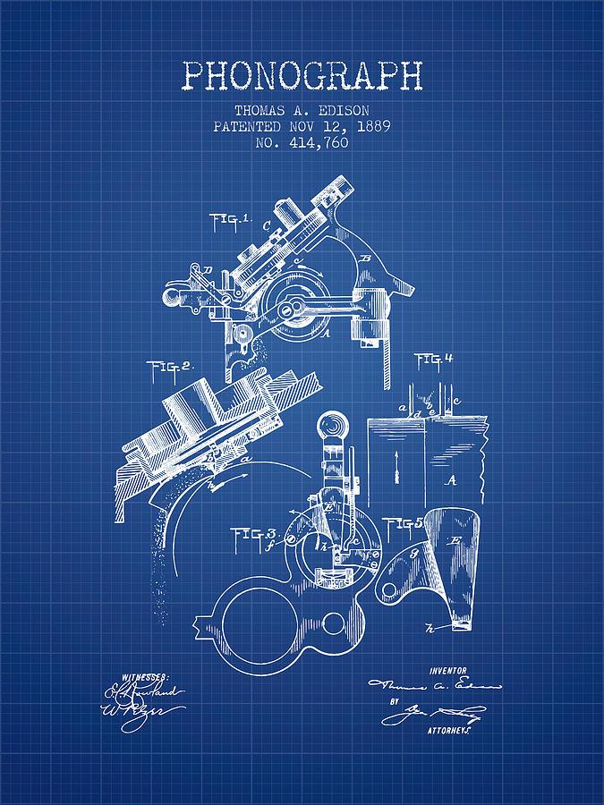 Thomas edison phonograph patent from 1889 blueprint digital art by gramophone digital art thomas edison phonograph patent from 1889 blueprint by aged pixel malvernweather Images