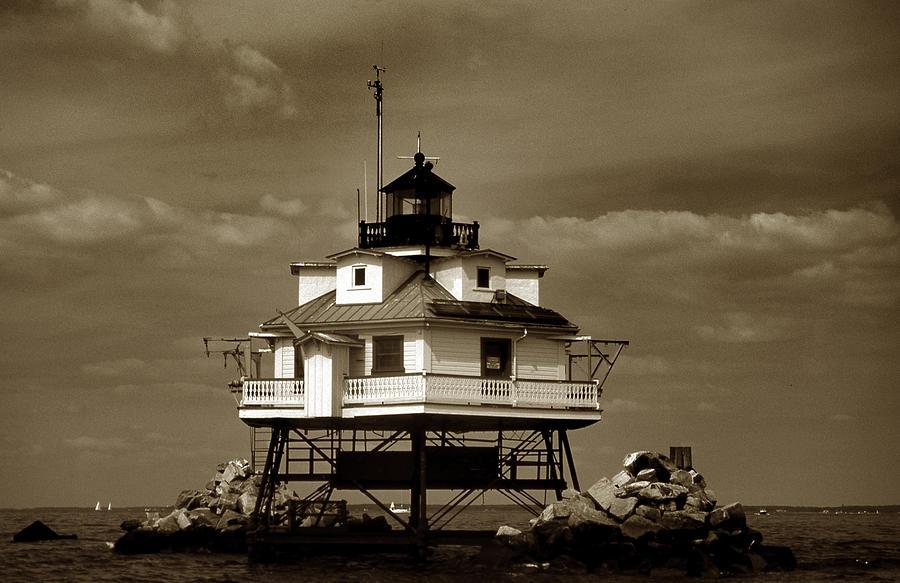 Sepia Photograph - Thomas Point Shoal Lighthouse Sepia by Skip Willits