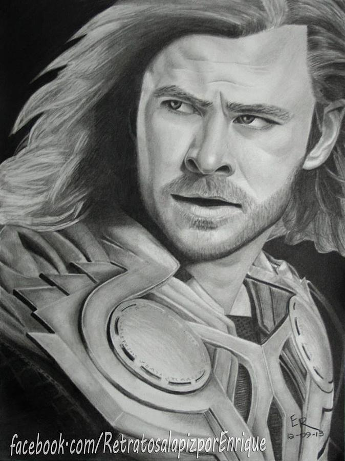 Thor Odinson Chris Hemsworth Drawing By Enrique Garcia