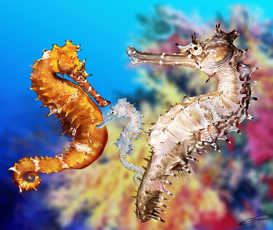 Seahorse Digital Art - Thorny Seahorse by Owen Bell