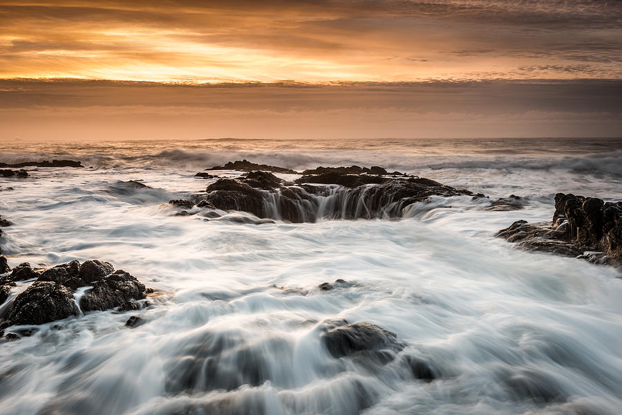 Newport Photograph - Thors Well by Mike  Walker