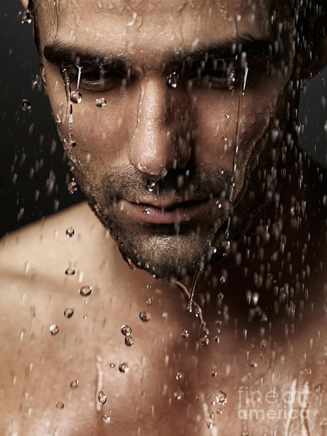Man Photograph - Thoughtful Man Face Under Pouring Water by Oleksiy Maksymenko