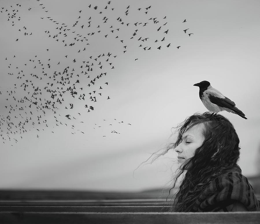 Portrait Photograph - Thoughts by Tatiana Koshutina