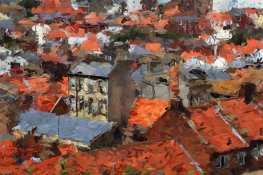 Roof Roofs Thousand Houses Red City Cityscape Urban Expressionism Painting - Thousand Roofs by Steve K