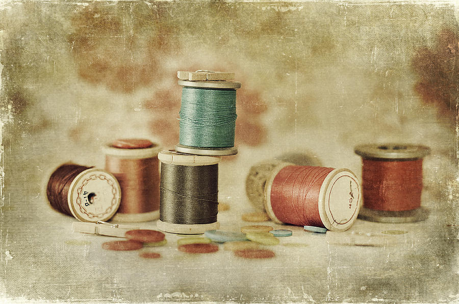 Fine Art Photograph - Threads And Buttons by Sofia Walker