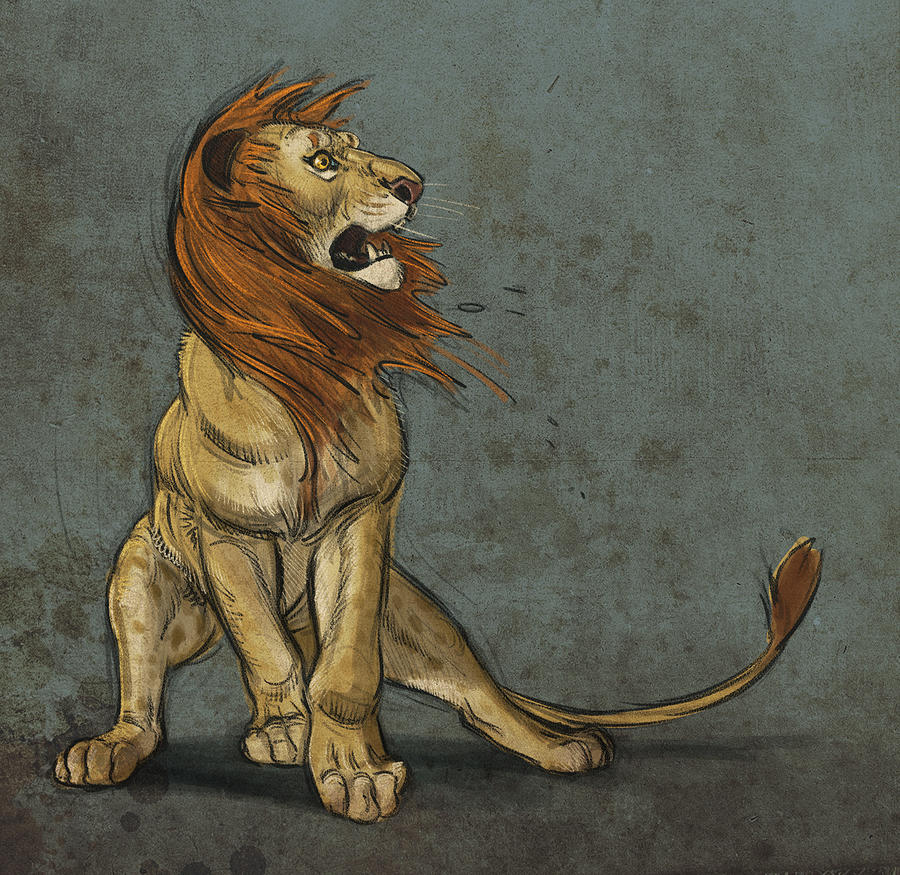 Lion Digital Art - Threatened by Aaron Blaise