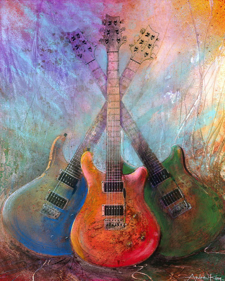Guitar Painting - Three Amigos by Andrew King