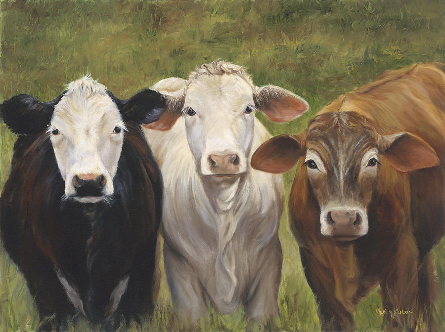 Colorful Cow Painting - Three Amigos by Cheri Wollenberg