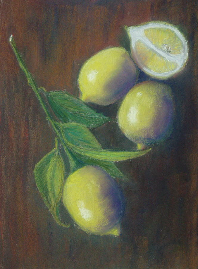 Lemons Painting - Three And A Half Lemons by Ellen Minter