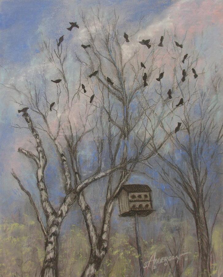 Trees Pastel - Three And Twenty Blackbirds by Sherri Anderson