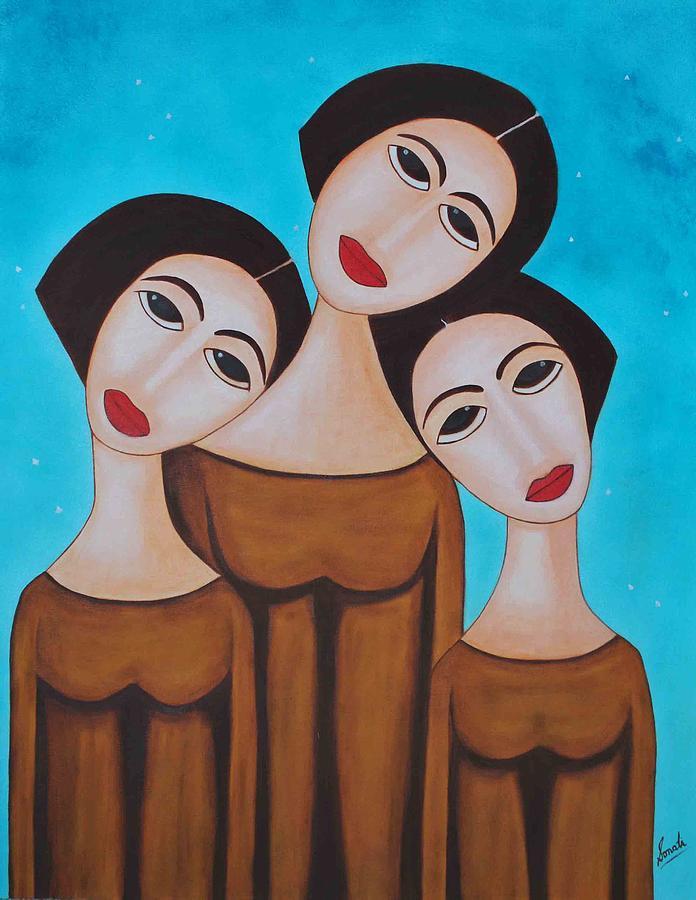Oil Painting - Three Angels by Sonali Kukreja