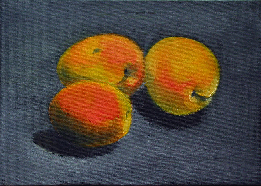 Food Painting - Three Apricots by Sarah Lynch