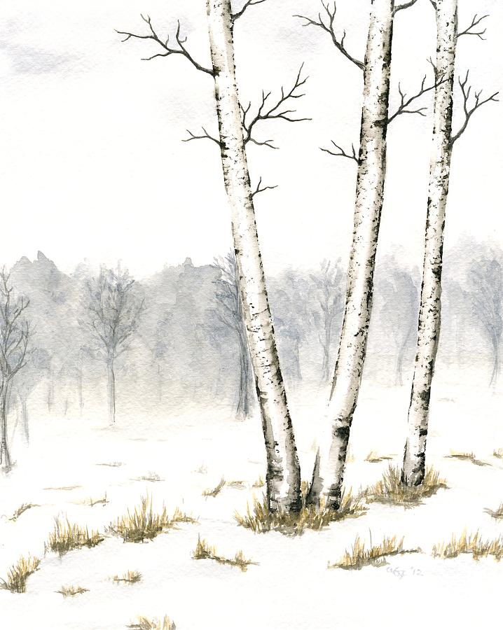 Trees Painting - Three Birches In Late Winter by Anna Bronwyn Foley