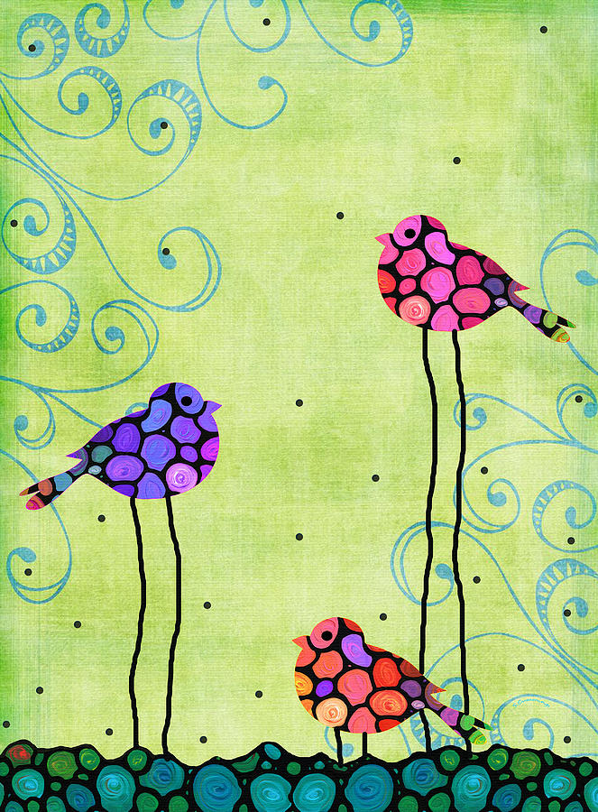 Bird Painting - Three Birds - Spring Art By Sharon Cummings by Sharon Cummings