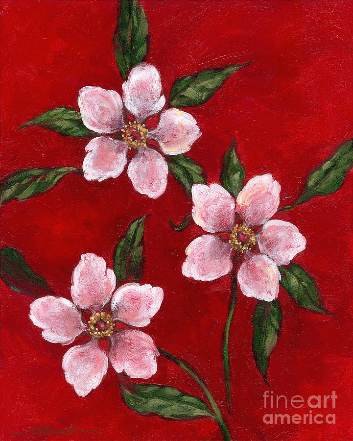 Three Blossoms on Red by Randy Wollenmann