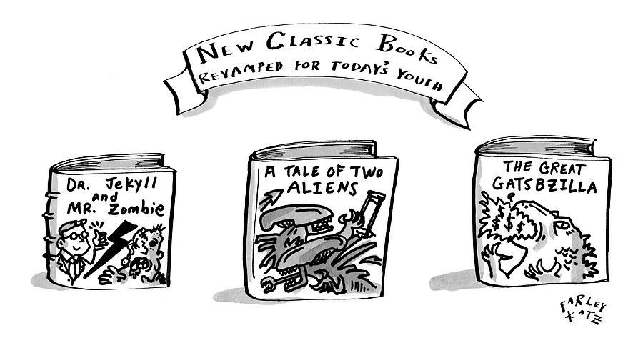 Three Books Are Seen Which Are Hybrids Of Classic Drawing by Farley Katz