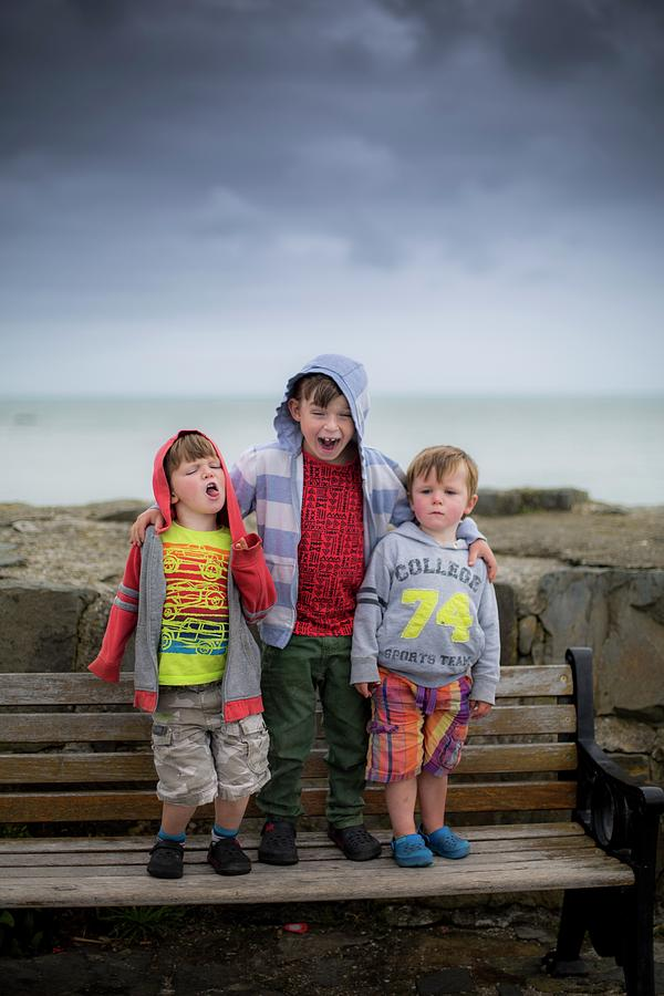 Children Photograph - Three Boys On Bench by Samuel Ashfield