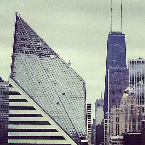 Chicago Photograph - Three Brave Souls Cleaning The Top Of by Jill Tuinier