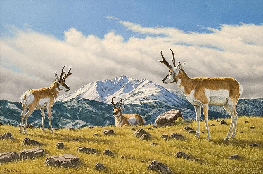 Wildlife Painting - Three Bucks On The Ridge by Paul Krapf