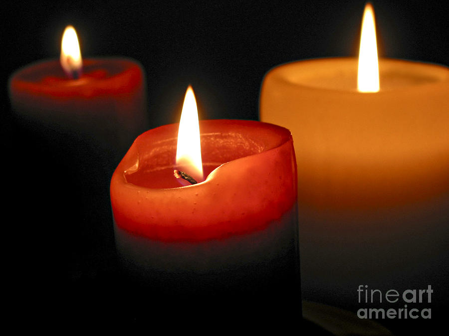 Candle Photograph - Three Burning Candles by Elena Elisseeva