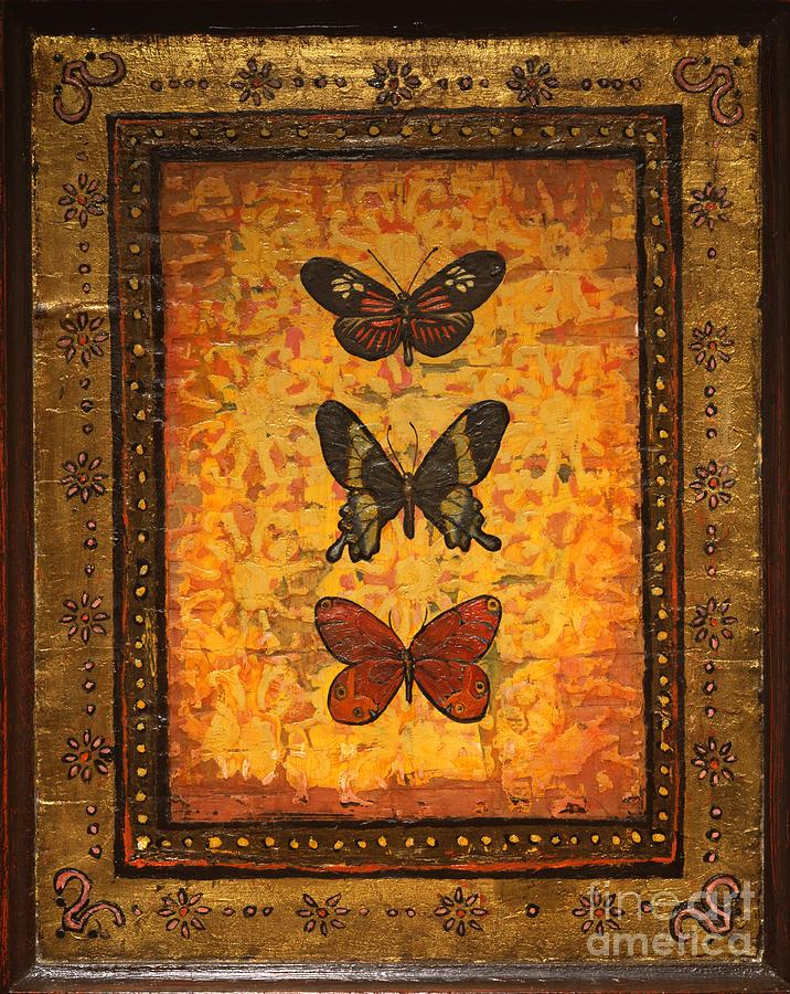 Butterfly Painting - Three Butterflies One by Sandra Dawson