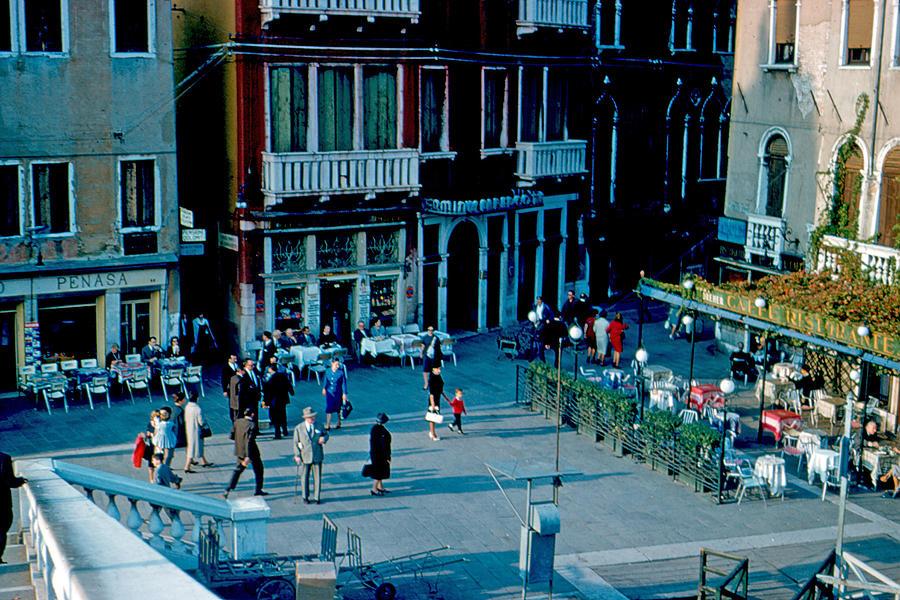 Venice Photograph - Three Cafes Venice Italy 1961 by Cumberland Warden