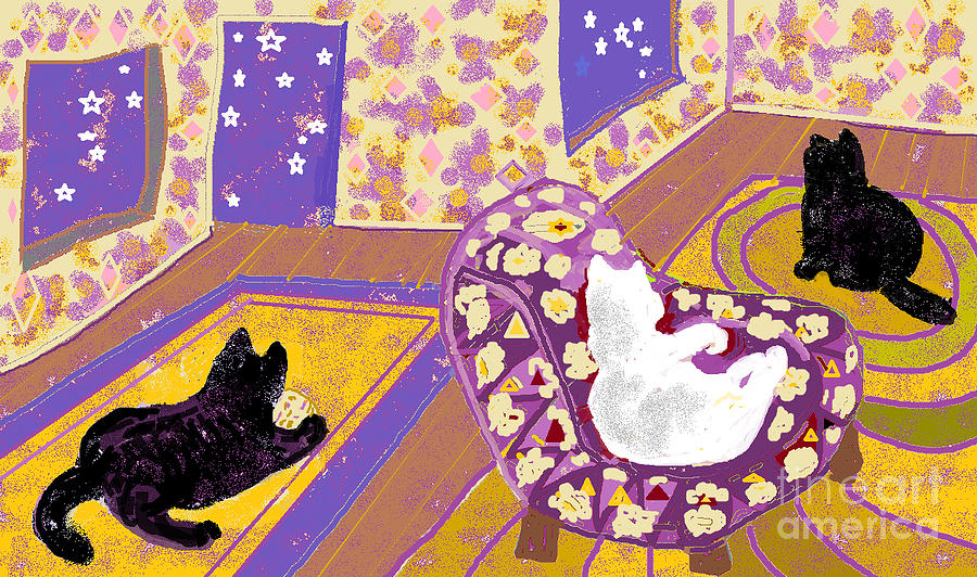 Black Cats Digital Art - Three Cats by Beebe  Barksdale-Bruner
