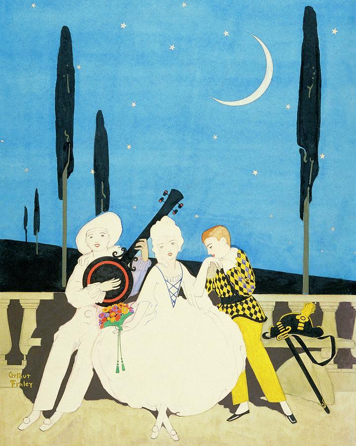 Three Characters Wears Pierrot Digital Art by Arthur Finley