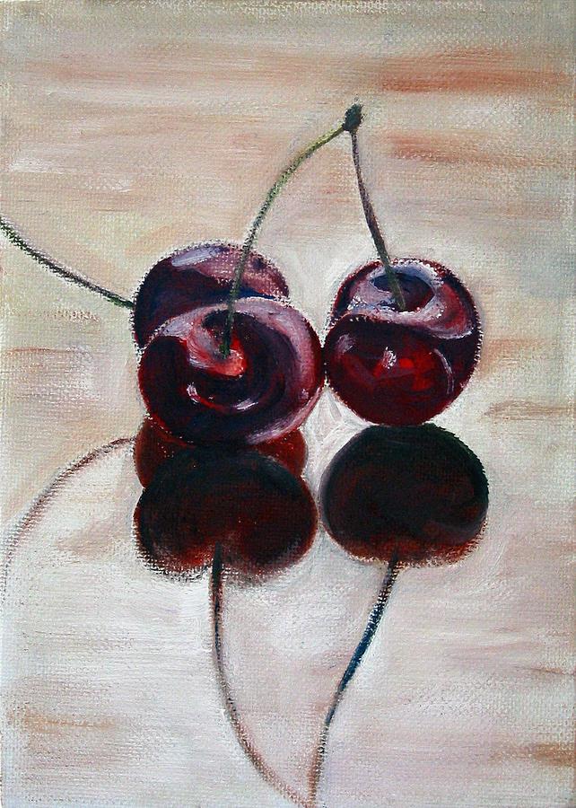 Food Painting - Three Cherries by Sarah Lynch