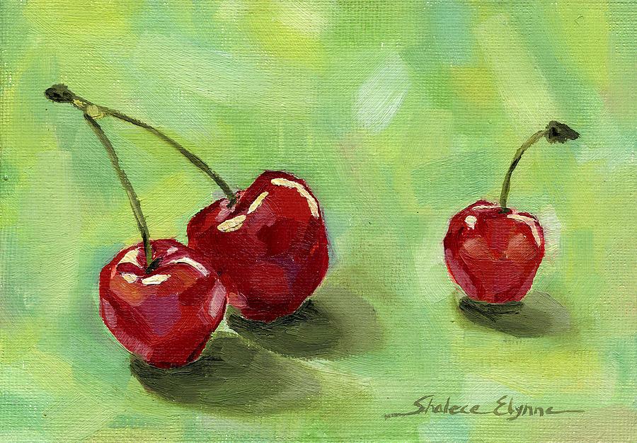 Cherries Still Life Painting - Three Cherries by Shalece Elynne